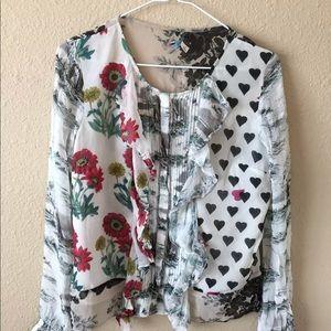 Anthropologie $138 chiffon floral ruffle blouse 4